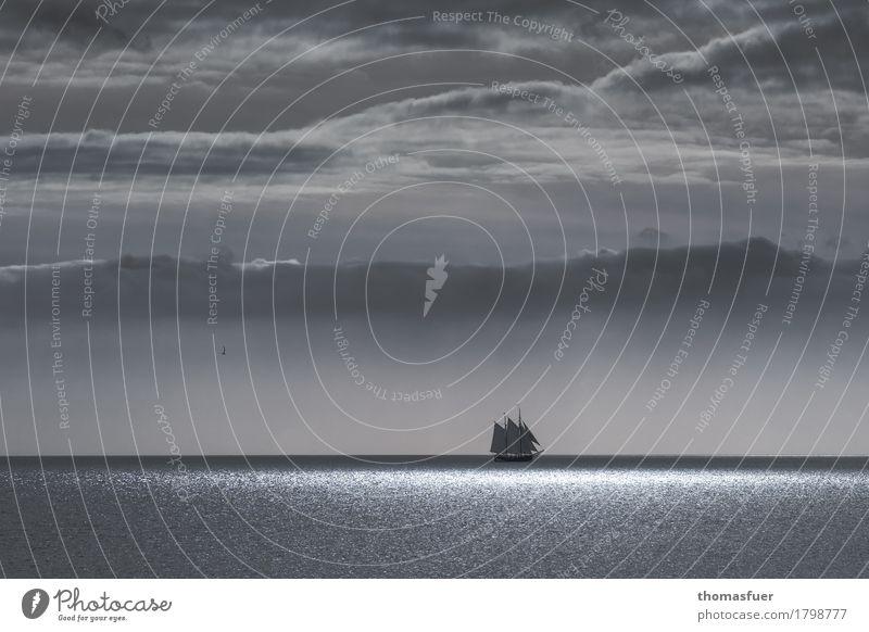 Sehnsucht Himmel Ferien & Urlaub & Reisen Wasser Meer Wolken ruhig Ferne schwarz Freiheit grau Erde Horizont Wetter Wellen Ausflug fantastisch