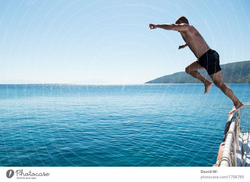 Sprungkraft Freude Glück Körper Wellness Leben Zufriedenheit Freizeit & Hobby Ferien & Urlaub & Reisen Tourismus Ausflug Abenteuer Ferne Kreuzfahrt Sommer