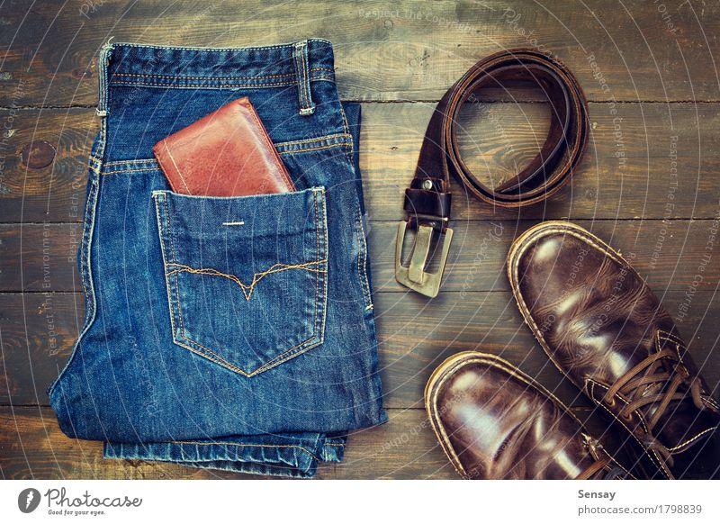 Jeans, Gürtel, Schuhe und Portemonnaie Stil Design Ferien & Urlaub & Reisen Business Mann Erwachsene Mode Bekleidung Hose Jeanshose Stoff Leder Accessoire