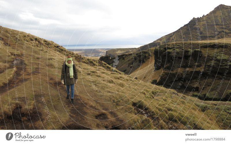 Island Mensch feminin Junge Frau Jugendliche 1 30-45 Jahre Erwachsene laufen wandern Berge Landschaft Natur Aussicht entdecken hiking kalt herbst flaches licht