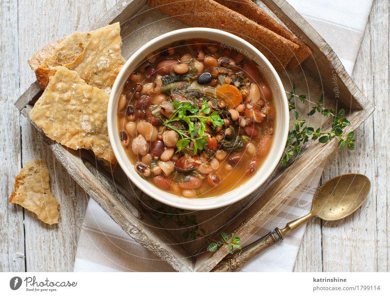 Gekochte Hülsenfrüchte und Gemüse in einer Schüssel grün weiß rot Speise Gesundheit Lebensmittel braun Ernährung Kräuter & Gewürze kochen & garen lecker Brot