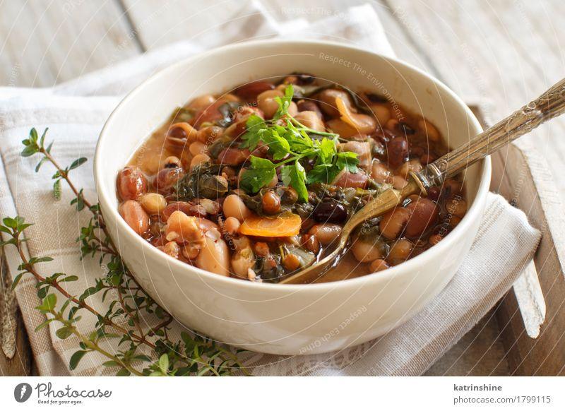 Gekochte Hülsenfrüchte und Gemüse in einer Schüssel grün weiß rot Speise Gesundheit Holz Lebensmittel braun Ernährung Kräuter & Gewürze kochen & garen lecker