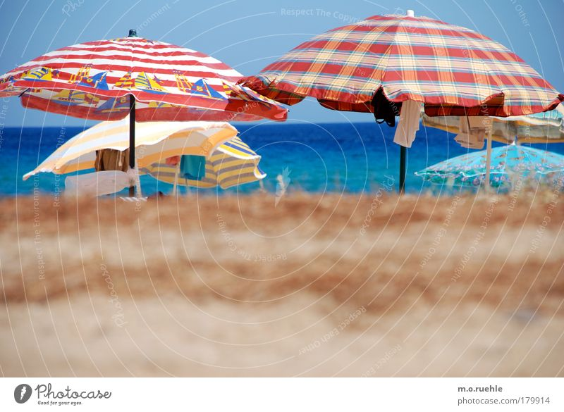 bunt beschirmt Farbfoto Außenaufnahme Menschenleer Licht Starke Tiefenschärfe Zentralperspektive Sand Wasser Himmel Wolkenloser Himmel Sommer Strand Meer