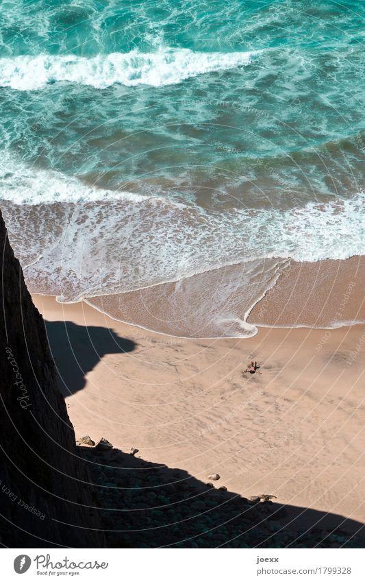 Allein, allein. Natur Ferien & Urlaub & Reisen Sommer grün Wasser weiß Meer Erholung ruhig Strand schwarz Küste Freiheit braun Sand liegen