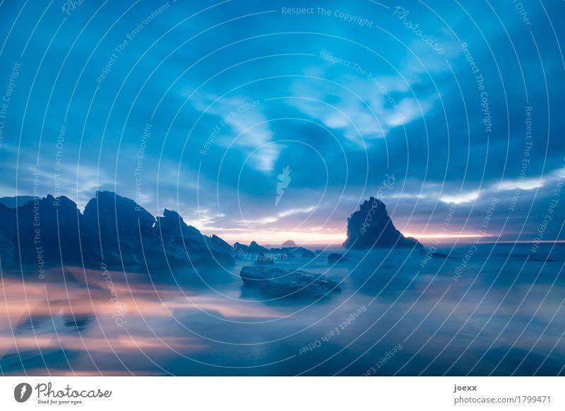 Insgesamt Natur Landschaft Himmel Sonnenaufgang Sonnenuntergang Sommer Felsen Küste Strand Meer groß maritim natürlich schön blau orange schwarz ruhig träumen