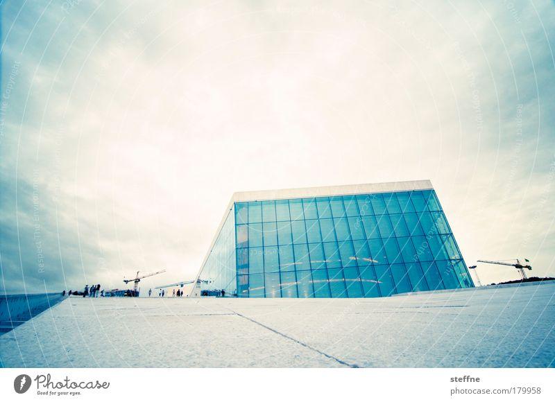 Phantom of the Opera blau Stadt gelb Gebäude Kunst modern ästhetisch Kultur außergewöhnlich Wahrzeichen Norwegen Hauptstadt Futurismus Sehenswürdigkeit