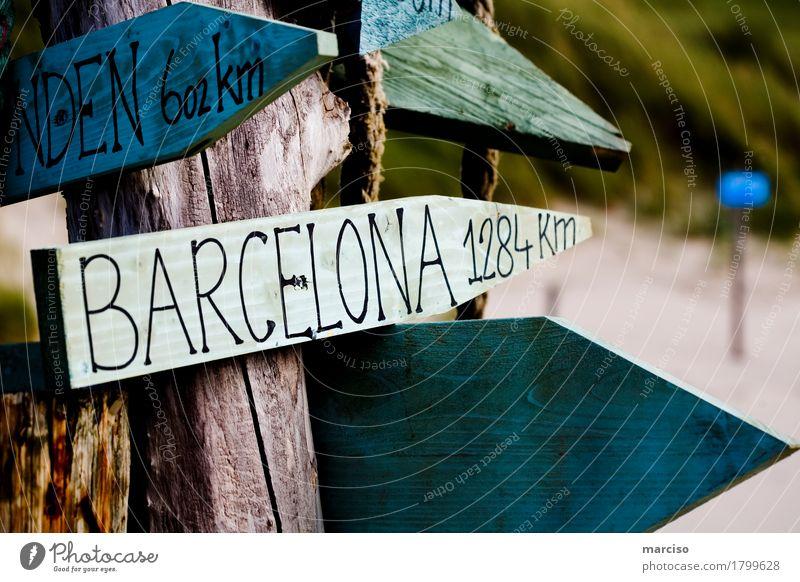 Barcelona Ferien & Urlaub & Reisen blau Sommer grün Sonne Meer Ferne Strand Lifestyle Wege & Pfade Küste Holz Freiheit Tourismus Ausflug Schilder & Markierungen