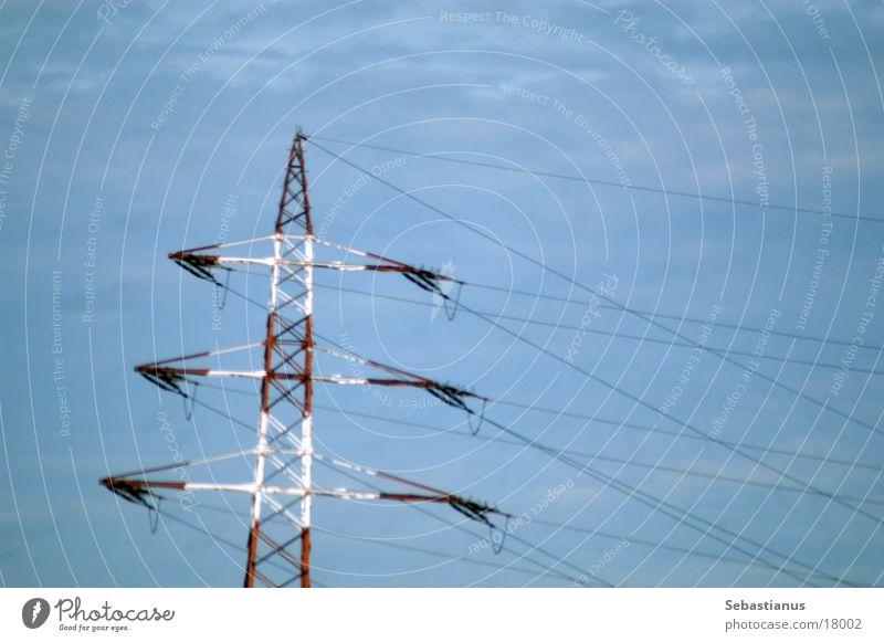 rot-weißer Strommast Himmel Energiewirtschaft Technik & Technologie Leitung Wattenmeer Drahtseil Elektrisches Gerät