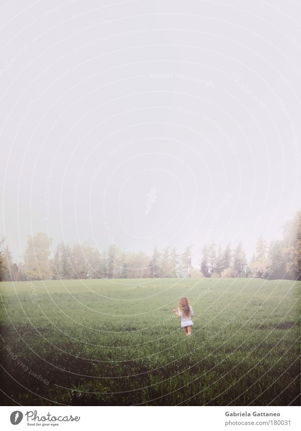 I dreamt to see the world Mensch Himmel Natur grün ruhig feminin Gefühle Haare & Frisuren Bewegung Luft Stimmung Horizont Feld Erde Wind Angst