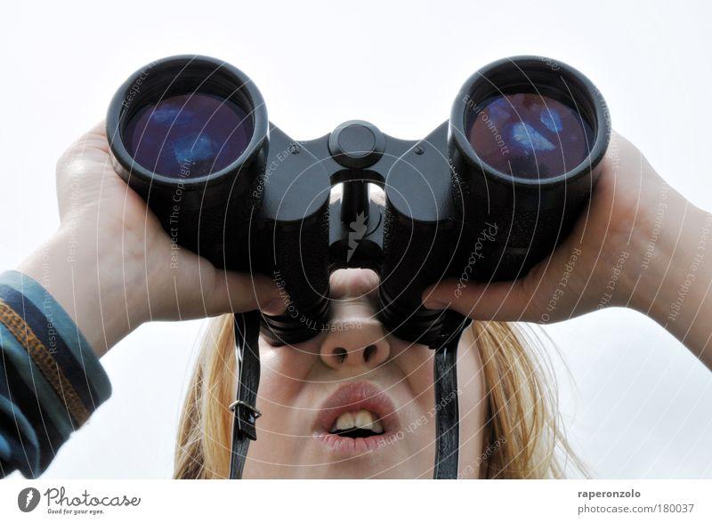 Seh(n)sucht Ferien & Urlaub & Reisen Expedition Wissenschaften Kind Mädchen Kindheit Gesicht Nase Mund 1 Mensch 8-13 Jahre Fernglas entdecken Blick Neugier