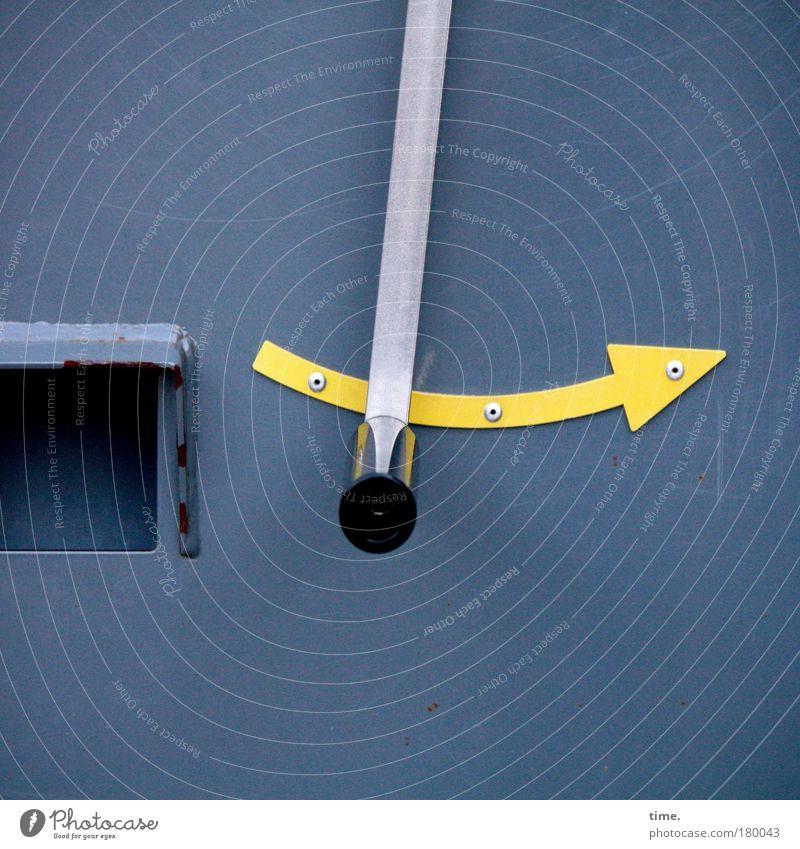 Was haben wir denn da? blau gelb Metall Richtung Pfeil aufwärts gekrümmt geschwungen Messanzeige