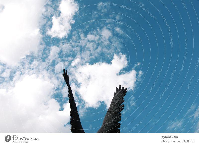 Flügelwesen Engel Himmel Himmel (Jenseits) Wolken blau weiß Wetter Bronze Vogel fliegen Freiheit Sommer Schweben Hoffnung Feder