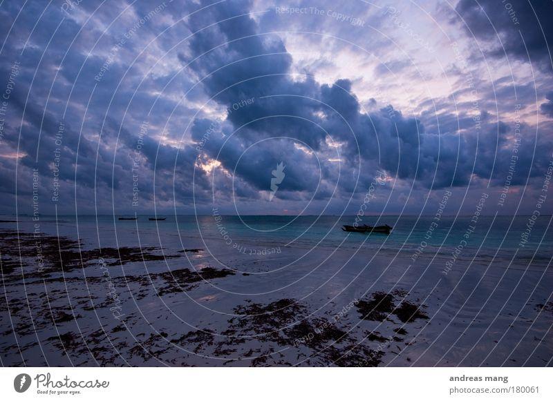 wolken dramatik Natur Wasser Himmel Meer blau Strand Wolken Wasserfahrzeug Wind Wetter nass Horizont gefährlich bedrohlich Dynamik Algen