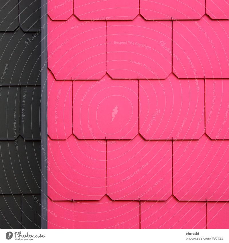 Schöner wohnen Haus Wand Mauer Gebäude Linie Architektur rosa Fassade Bauwerk graphisch Einfamilienhaus