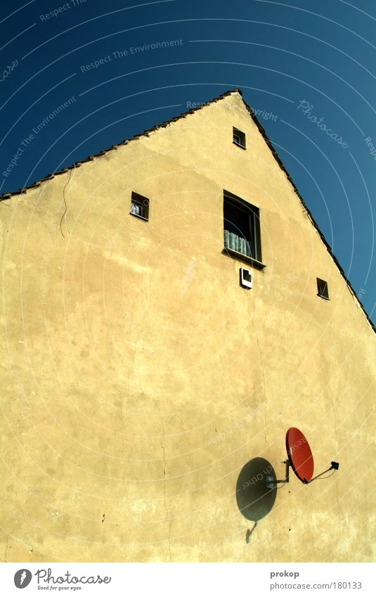 Grundbedürfnisse befriedigt Himmel Sommer Haus Einsamkeit Leben Wand Fenster Mauer Armut Fassade Hoffnung Kommunizieren Dach Lebensfreude Unendlichkeit Idylle