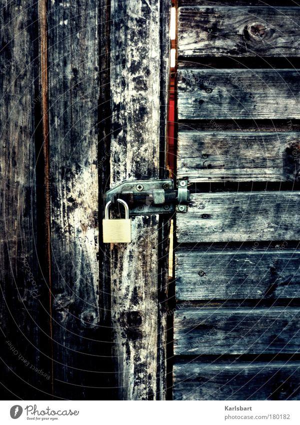 müssen. hier raus. ruhig Einsamkeit Wand Garten Freiheit Holz Traurigkeit Mauer Linie Wohnung Tür Design Fassade geschlossen Lifestyle ästhetisch