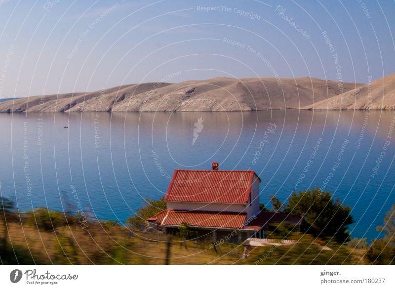 Haus am Meer Ferne Sommer Sommerurlaub Sonne Insel Natur Landschaft Sand Luft Wasser Wolkenloser Himmel Schönes Wetter Wärme Sträucher Küste Bucht Pag Kroatien