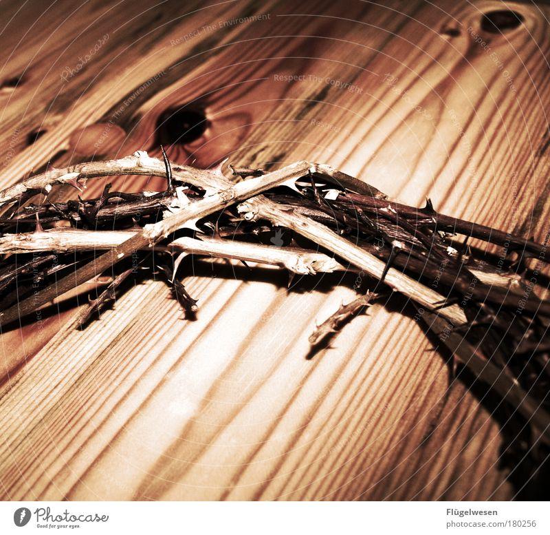 Königskrone Farbfoto Innenaufnahme Holz knien Traurigkeit nachhaltig stachelig Mut Tatkraft Leidenschaft Geborgenheit Trauer Dorn Kirche Tod Auferstehung