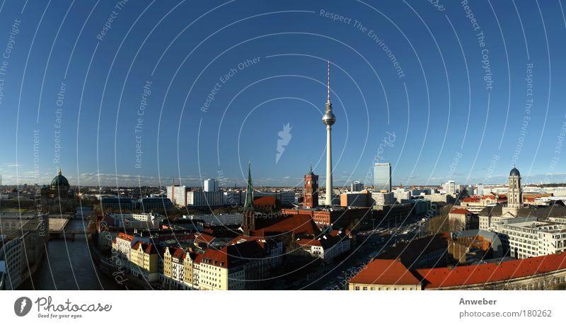 Panorama Berlin-Mitte mit Fernsehturm am Alexanderplatz Himmel Stadt Ferien & Urlaub & Reisen Haus Straße Silhouette Architektur Vogelperspektive Stimmung