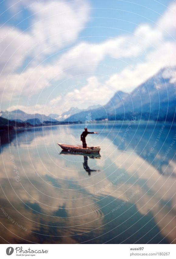 Fishing for compliments Einsamkeit Wasserfahrzeug Zähne Reflexion & Spiegelung Angeln Teich Mensch Fischereiwirtschaft Angelrute liquide Angelköder Köder