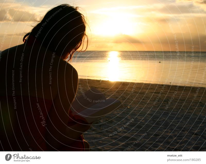 Ein Tag am Meer geht zu ende Mensch Frau Ferien & Urlaub & Reisen Sonne Sommer ruhig Erwachsene Erholung Landschaft Wärme Küste Horizont Zufriedenheit sitzen