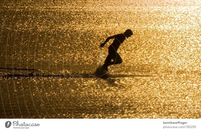 wassersport Farbfoto Außenaufnahme Textfreiraum links Textfreiraum unten Abend Dämmerung Licht Schatten Kontrast Silhouette Lichterscheinung Sonnenstrahlen