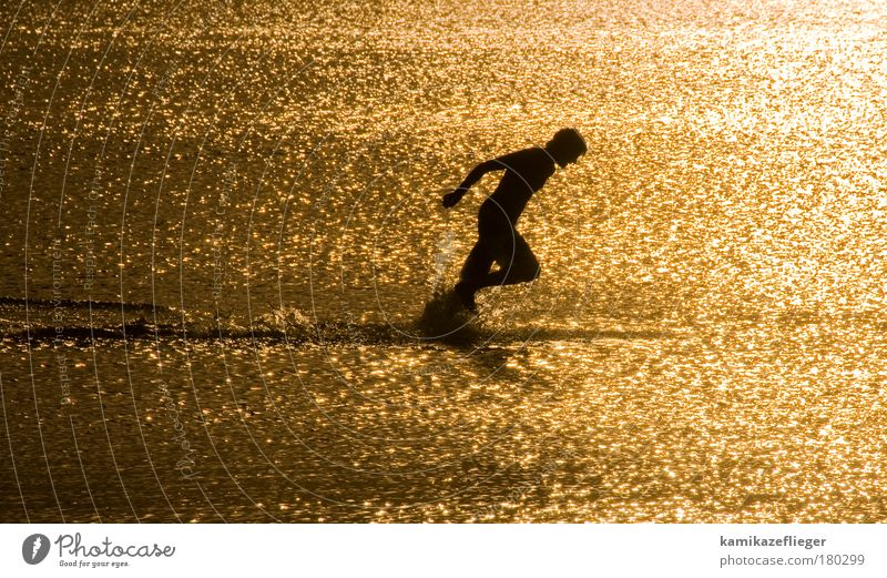 wassersport Mensch Jugendliche Wasser Meer Strand schwarz Sport Freiheit Erwachsene maskulin laufen Wassertropfen gold rennen