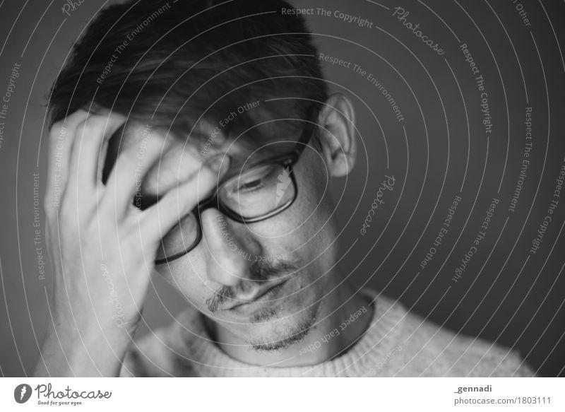Status quo Mensch Jugendliche Mann Junger Mann 18-30 Jahre Erwachsene Traurigkeit Gefühle Kopf Stimmung maskulin authentisch Haut Schmerz Bart Sorge
