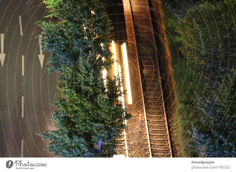 artificial light Ferien & Urlaub & Reisen Einsamkeit Ferne Wald Straße Bewegung Wege & Pfade Linie Zeit Verkehr Energiewirtschaft Geschwindigkeit Streifen