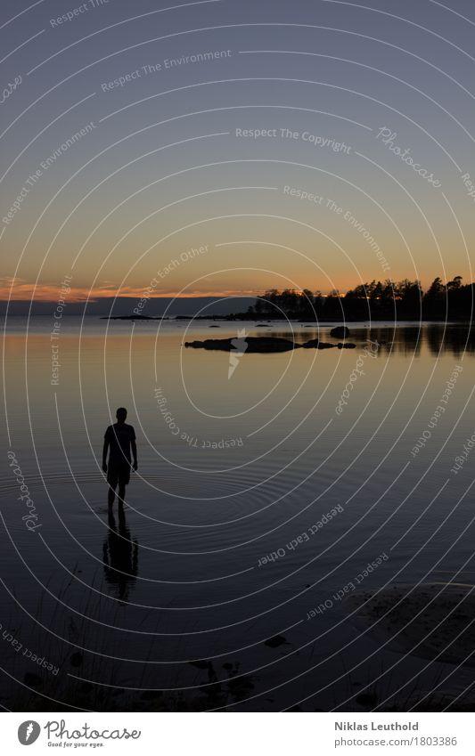 Silhouette ruhig Schwimmen & Baden Ferien & Urlaub & Reisen Ferne Sightseeing Sommer Sommerurlaub Sonne Meer Wellen maskulin 1 Mensch Landschaft Wasser Himmel