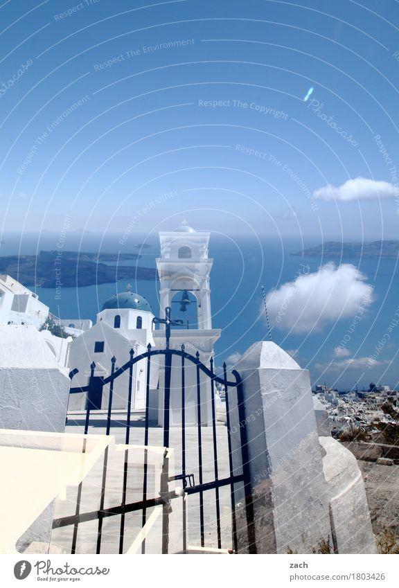Realität ist nur ein Traum Himmel Natur blau weiß Meer Wolken Haus Wand Küste Mauer Tür Kirche Insel Schönes Wetter Turm Dorf