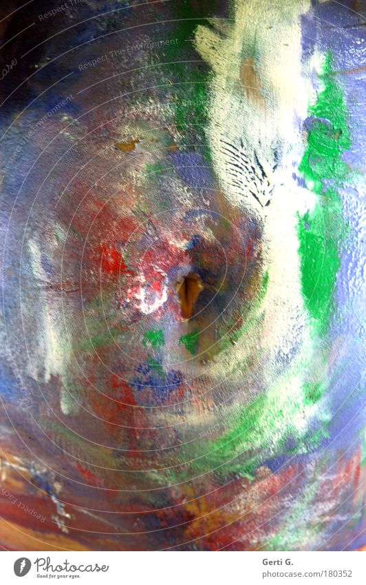 der Nabel der Welt ... blau weiß grün Farbe Bauch bemalt Bauchnabel angemalt Körpermalerei