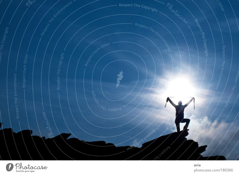 Ich habe die Macht! Himmel Berge u. Gebirge Freiheit Glück Kraft Felsen wandern Ausflug Erfolg Freude Klettern Alpen Fitness Lebensfreude Bergsteigen Schal