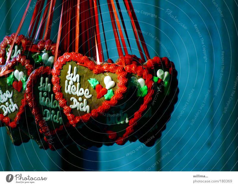 Lebkuchenherzen Flirten Valentinstag Muttertag Jahrmarkt Herz süß Sympathie Liebe Verliebtheit Süßwaren herzförmig Ich liebe dich Pfefferkuchenherzen