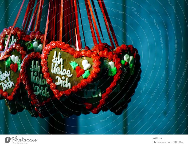 Mielkes Herzen Lebkuchenherzen Flirten Valentinstag Muttertag Jahrmarkt süß Sympathie Liebe Verliebtheit Süßwaren herzförmig Farbfoto Außenaufnahme