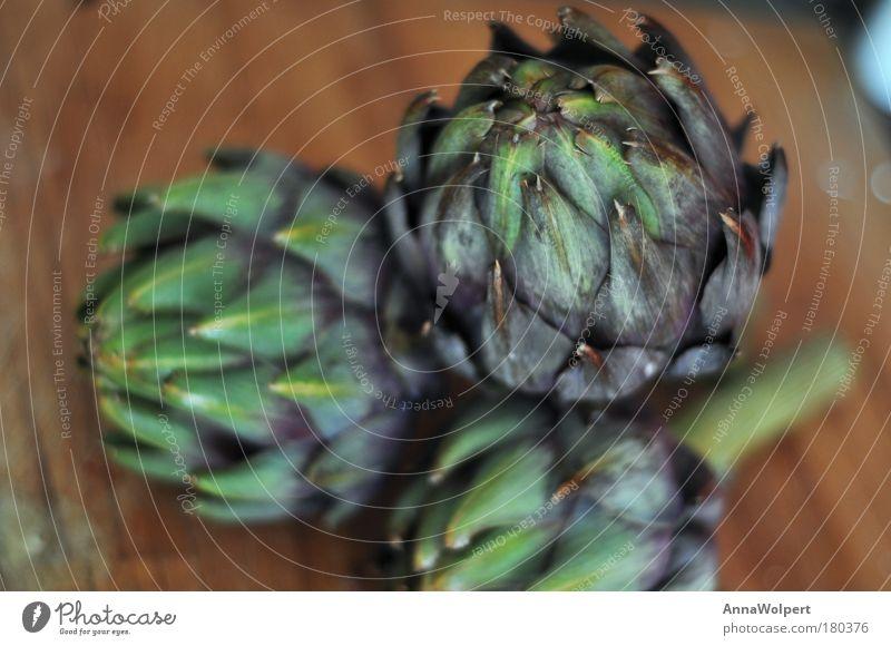 Artischocke Farbfoto Nahaufnahme Lebensmittel Gemüse Ernährung Bioprodukte Vegetarische Ernährung Diät Pflanze grün violett