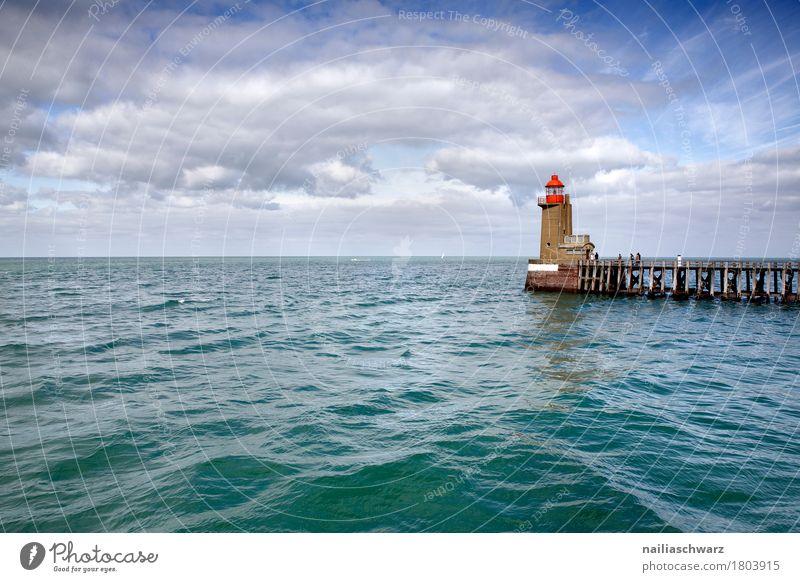 Leuchtturm, Fecamp Frankreich Natur Landschaft Luft Wasser Herbst Schönes Wetter Wellen Meer Atlantik Normandie Kleinstadt Stadt Hafenstadt Bauwerk