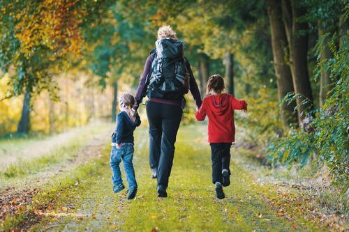 mal raus! Mensch Kind Jugendliche Freude Wald 18-30 Jahre Erwachsene Leben Herbst feminin Familie & Verwandtschaft Glück springen Freizeit & Hobby wandern