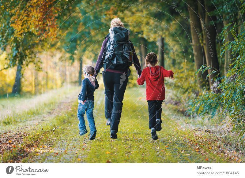 mal raus! Mensch Kind Jugendliche Freude Wald 18-30 Jahre Erwachsene Leben Herbst feminin Familie & Verwandtschaft Glück springen Freizeit & Hobby wandern Körper
