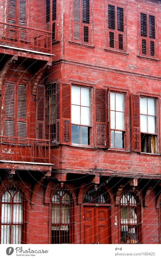 LLLl alt Stadt rot Ferien & Urlaub & Reisen Haus Straße Wand Holz Mauer Gebäude Architektur Fassade ästhetisch Dorf streichen