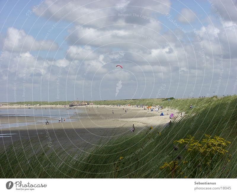 Strand bei Renesse (NL) Wasser Sonne Wolken Gras Sand Stranddüne Drachenfliegen