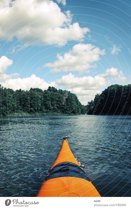Kanu Himmel Natur Wasser Ferien & Urlaub & Reisen Sommer Wolken Wald Umwelt Landschaft Sport See Horizont orange Ausflug Abenteuer authentisch