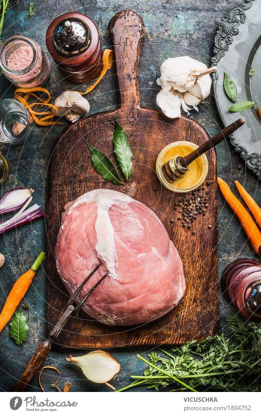 Schweinefleisch Schinkenbraten mit Zutaten Stil Lebensmittel Design Häusliches Leben Ernährung Tisch Kräuter & Gewürze kochen & garen Küche Gemüse Bioprodukte