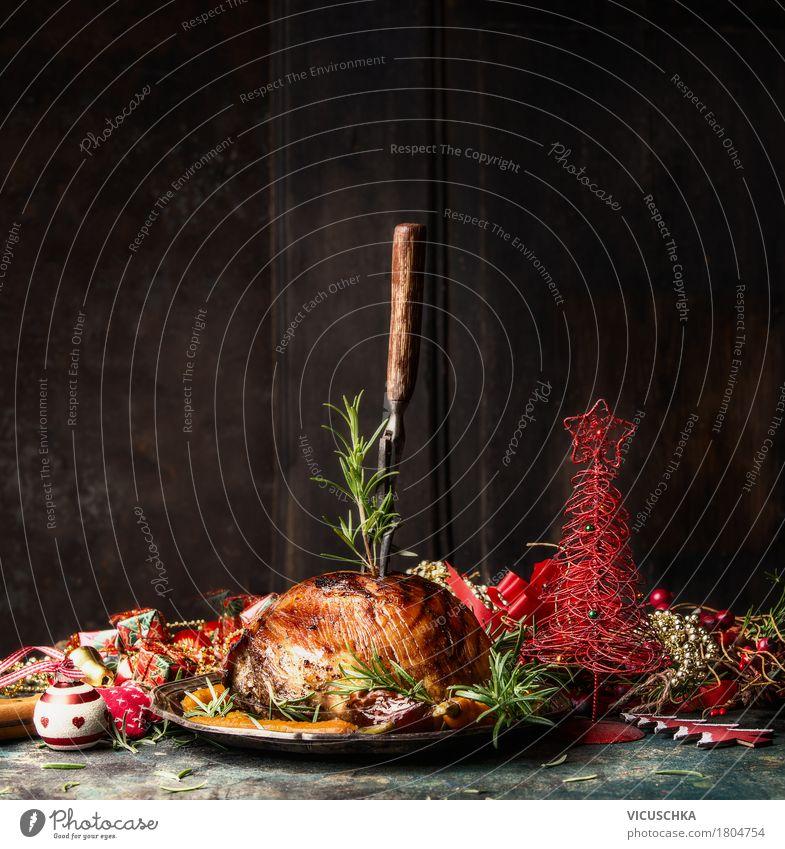 Schinkenbraten für Weihnachtsessen Lebensmittel Fleisch Ernährung Festessen Geschirr Gabel Stil Design Häusliches Leben Tisch Veranstaltung Restaurant