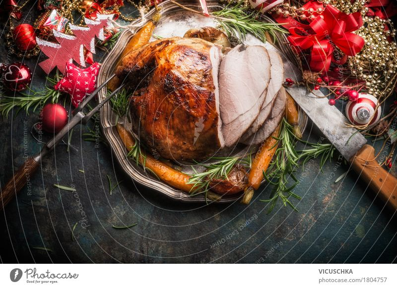 Traditionelle Schinkenbraten mit Weihnachtsdekoration Weihnachten & Advent Speise Stil Lebensmittel Feste & Feiern Party Design Ernährung Tisch