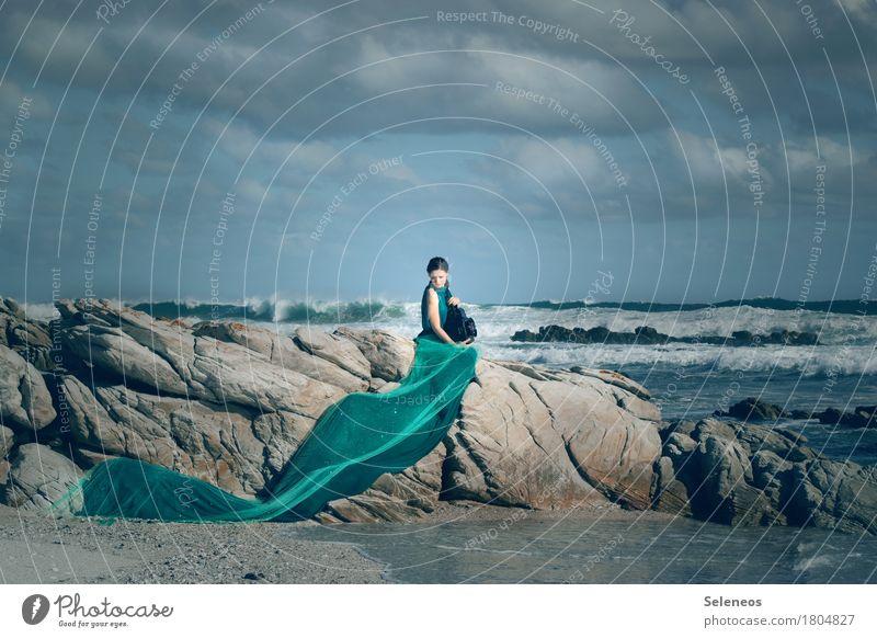 my sea Mensch Frau Himmel Natur Ferien & Urlaub & Reisen Sommer Wasser Meer Landschaft Wolken Ferne Strand Erwachsene natürlich Küste feminin