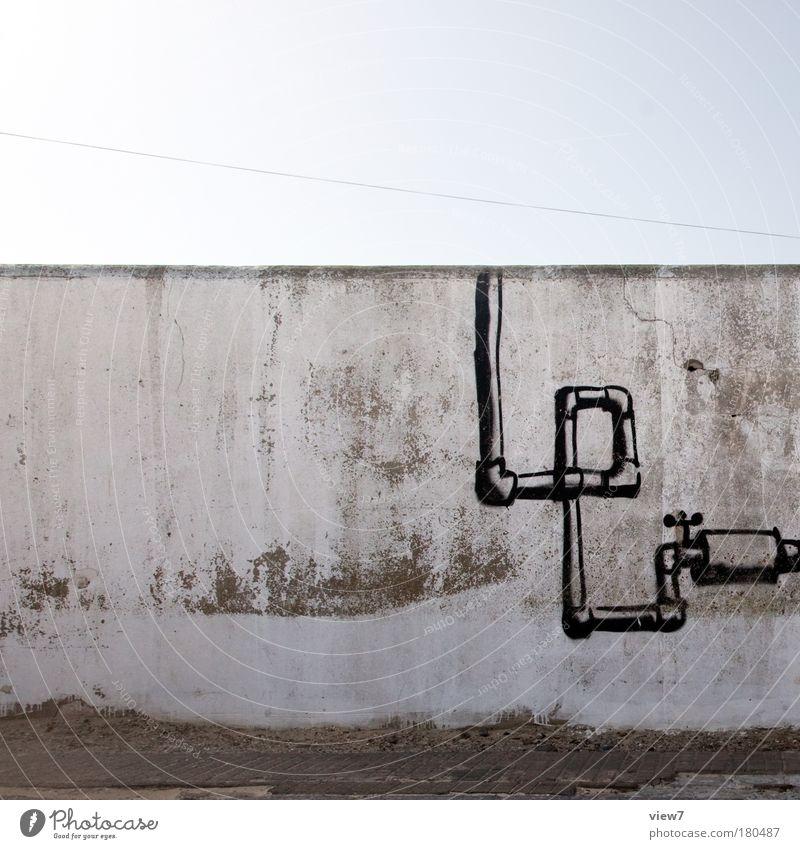 Anlagenbau alt Freude schwarz Wand Stein Mauer Linie Graffiti dreckig Design Fassade modern ästhetisch trist Kommunizieren einfach