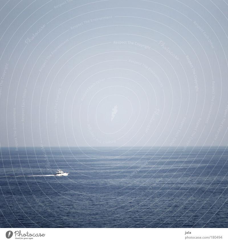 my bonny is over the ocean .... Farbfoto Außenaufnahme Menschenleer Textfreiraum oben Tag Wasser Himmel Meer Schifffahrt Jacht fahren Ferne Fernweh