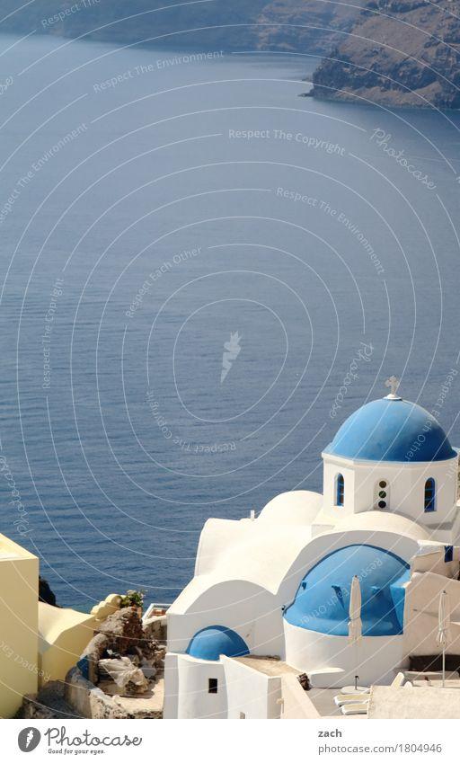 am Abgrund Ferien & Urlaub & Reisen Natur Wasser Wolkenloser Himmel Schönes Wetter Meer Mittelmeer Ägäis Insel Kykladen Santorin Caldera Oia Griechenland Dorf