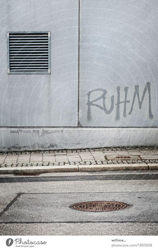 der weg nach oben Karriere Erfolg Image Haus Bauwerk Gebäude Architektur Schriftzeichen Graffiti Stadt grau Wand Bürgersteig Straße Asphalt Gully Lüftung